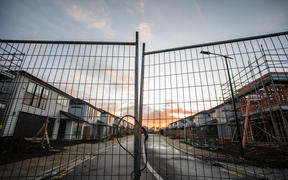 A locked up construction site in a suburb in South Auckland of day 1 of the lockdown.
