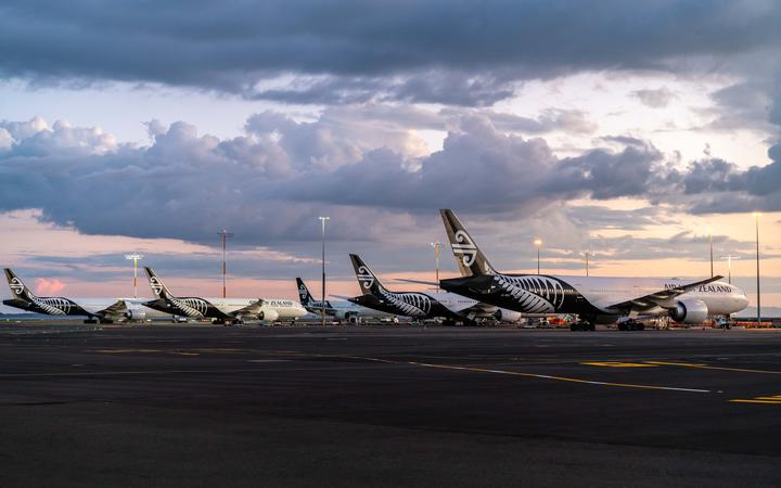 Air New Zealand planes parked up at Auckland Airport two during the Covid-19 pandemic.