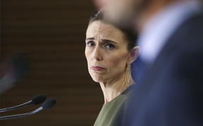 WELLINGTON, NEW ZEALAND - APRIL 07: Prime Minister Jacinda Ardern looks on during a press conference at Parliament on April 07, 2020 in Wellington, New Zealand.