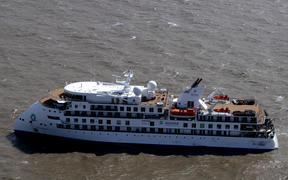 Aerial view of Australian cruise ship Greg Mortimer off the port of Montevideo on 7 April 7 2020.