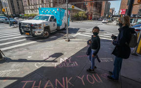 Thank you messages are written on the sidewalk outside of Mt. Sinai West Medical Center on April 7, 2020 in New York.