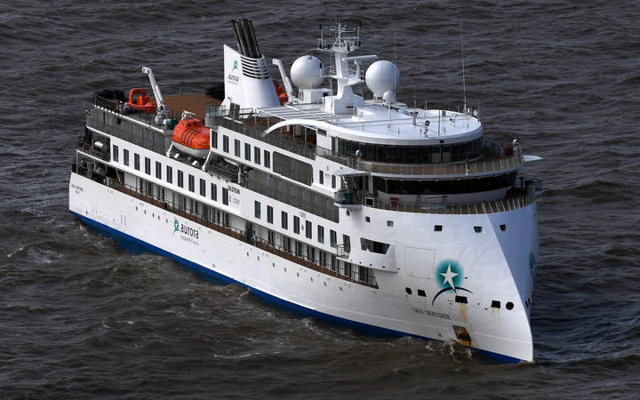 Aerial view of Australian cruise ship Greg Mortimer off the port of Montevideo on April 7, 2020.