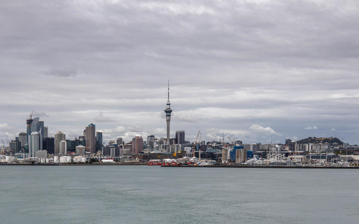 A view of Auckland's Sky Tower from across the harbour during the Covid-19 alert level four lockdown.