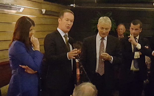 Auckland mayoral candidates, from left: Vic Crone, Mark Thomas and Phill Goff with ACT leader David Seymour, right.