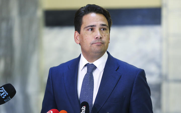 National leader Simon Bridges speaks to media during a press conference at Parliament on April 09, 2020 in Wellington, New Zealand.