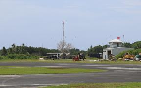 The runway and air traffic control tower at Funafuti airport, the only airport in Tuvalu.