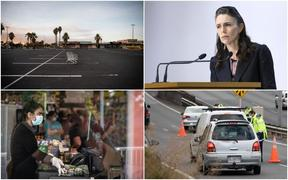 New Zealand life in lockdown - an empty supermarket carpark (top left), Jacinda Ardern addressing the media, an essential worker wearing protective gear and police doing checks on the road.