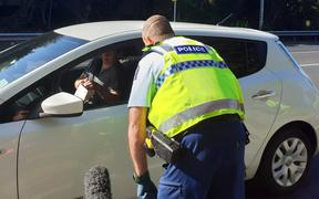 Police checkpoint on SH1 in Warkworth, north of Auckland