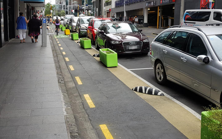 The trial cycleway and pedestrian space on Federal Street in Auckland.