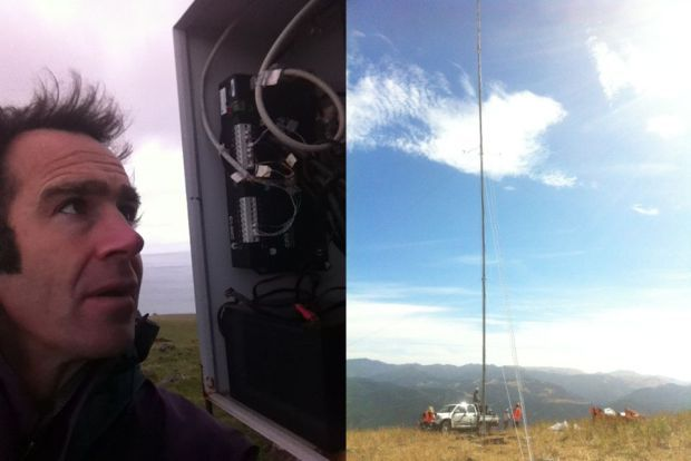 Scott Willis checking the data box on the metre tower
