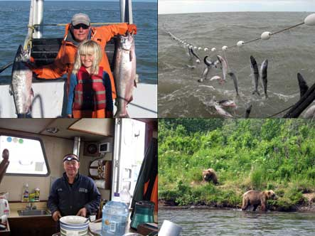 Mike and Sarah Radon fishing for salmon, salmon in the net, Mike in the galley, and bears on the foreshore.
