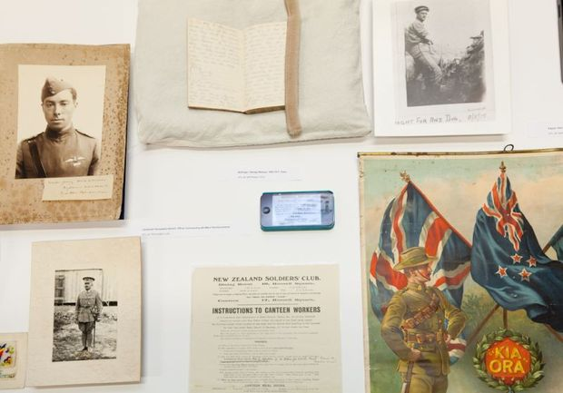 Items from the Alexander Turnbull Library and Archives NZ on display.