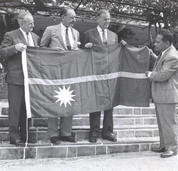Displaying the new flag, 31 January 1968