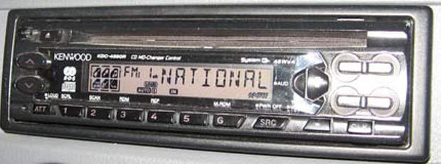 Car radio displaying 'National'