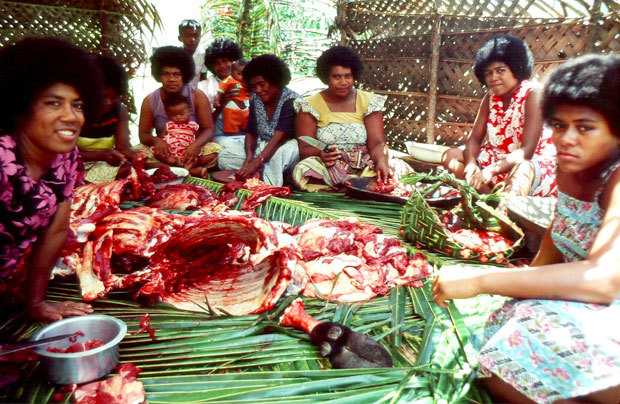 Preparing for a feast in Fiji