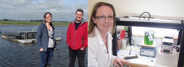 Nicola Brown and Andy Shilton next to a msall water treatment pond, and with a flask of algae in the lab