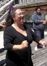 Out there! Project leader Elizabeth Kerekere participates in the waiata practise at the National Queer Youth Hui 2009