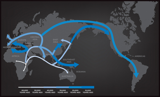 Geno Human Migration Map Courtesy of National Geographic