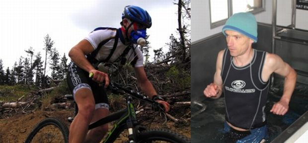 A volunteer on a mountain bike, and Paul Macdermid