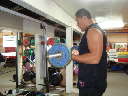 James Mihaere going through his strength training routine at He Toa sports and recreation centre.