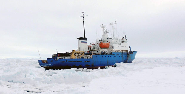 Akademik Shokalskiy in ice, photo by B and J Tucker