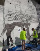 Painting a mural in Mt Cook