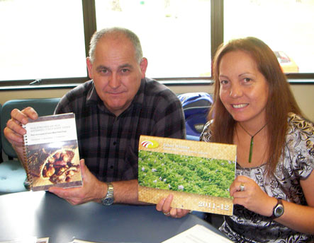 Nick Roskruge and Zirsha Wharemate with their publication and a Matariki calendar about taewa