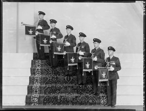 Royal New Zealand Air Force royal tour fanfare trumpeters Crown Studios Collection Alexander Turnbull Library FL