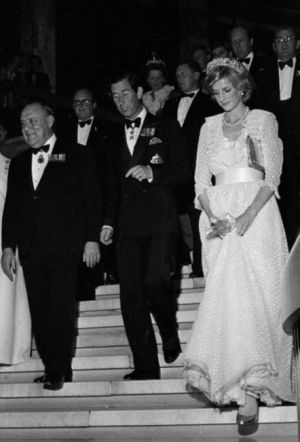 Princess Diana Prince Charles and Robert Muldoon on the stairs at the Beehive Wellington April Alexander Turnbull Library crop