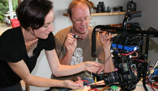 Jess Charlton and Simon Baumfield in the secret workshop with Octi-coptor and drone creations