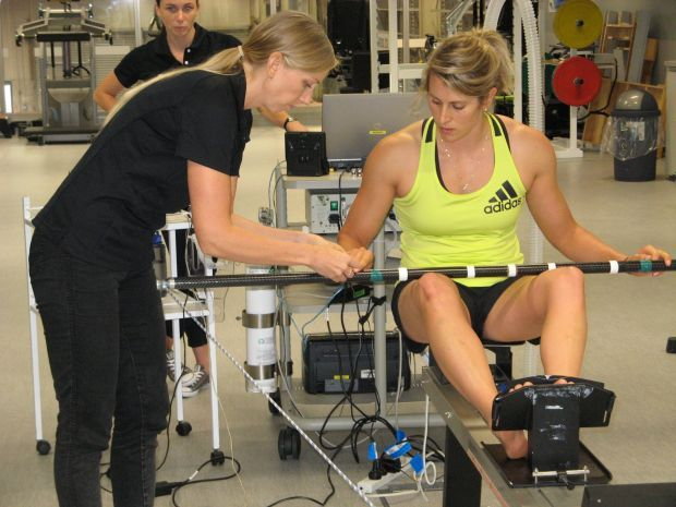 Canoe slalomist Luuka Jones has her aerobic capacity assessed at AUT