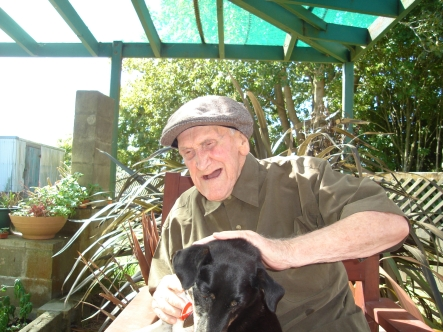 86 year old Walter Holmes, with best mate Jack.