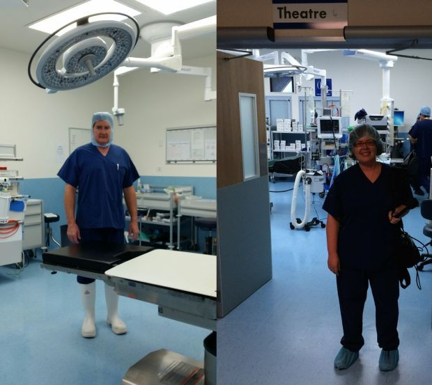 Peter Devane in surgery and Ruth Beran in front of the operating theatre