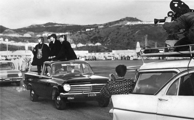 Beatles at Wellington Airport June via Archives NZ CC