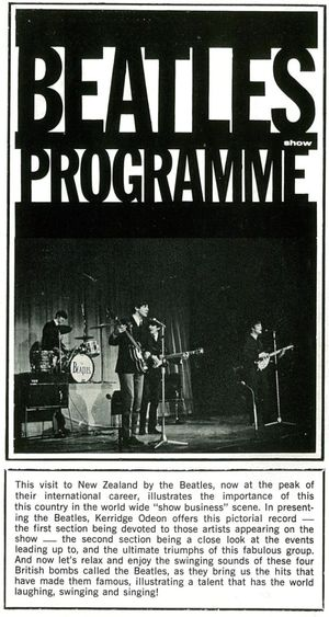 Beatles in NZ Tour programme inside intro page
