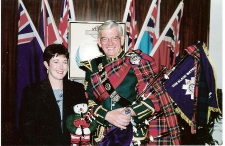 Kilt Making Eric in full regalia and wife Pam c Eric Von H