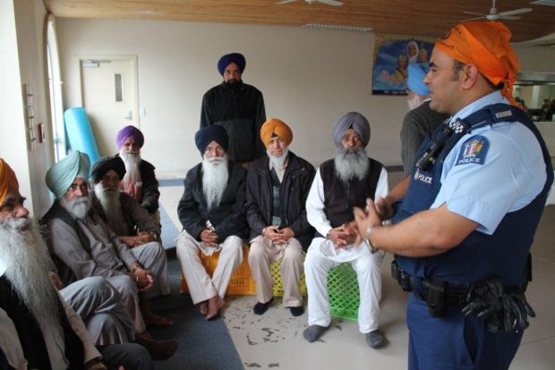 Contable Arora addresses Elders at the Sikh Temple in Manuwera
