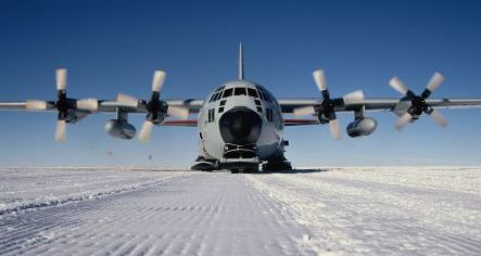 A ski equipped C-130 Hercules on the Polar Ice Ca