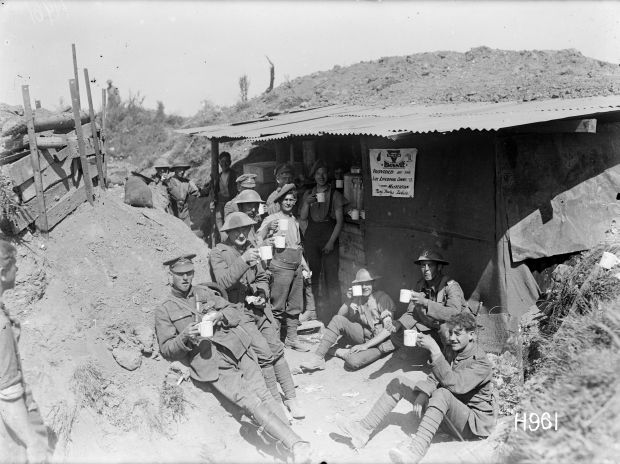 Soldiers in the trenches during WW1
