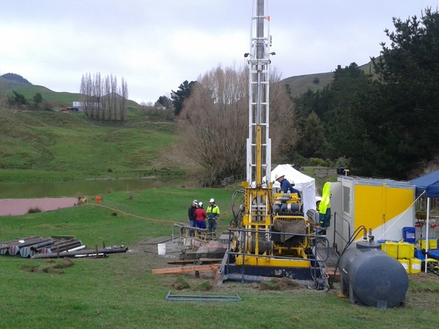 Drilling team on Siberia Station in Wanganui Basin