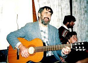 Dara Molloy playing guitar at a Ceilidh Aran Isles