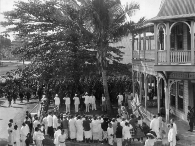 Raising the union jack in Samoa photographed on August by Alfred James Tattersall ATL Ref PA q