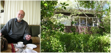 Bob Fantl in his 1950s modernist house in Wellington.