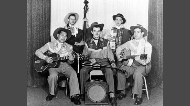 eight col Johnny Cooper and his Range Riders Wellington c From left Johnny Cooper Will Lloyd Jones Don Aldridge Ron James Jim Gatfield Sonic Records