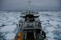 The Tangaroa going into pack-ice in the Ross Sea