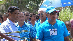 Frank Bainimarama during the election campaign