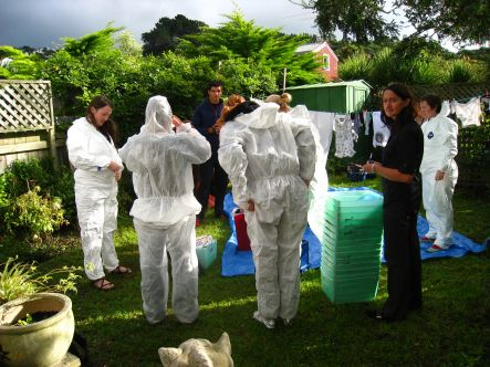 The Household Sustainability group prepares for the waste audit.