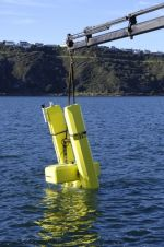 WET-NZ prototype wave energy device being lowered into the water at Evans Bay, Wellington.
