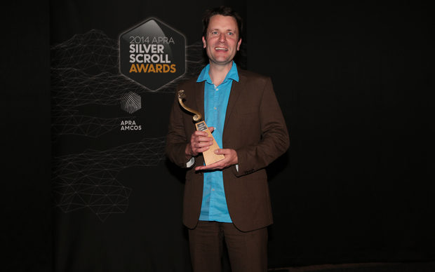 Michael Norris accepts the Soundz Contemporary Award for his song Inner Phases at the Silver Scroll Awards Photo RNZ Diego Opatowski