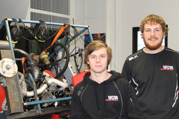 Adam Waterhouse left and Daniel Pugh were the powertrain team tuning the engine